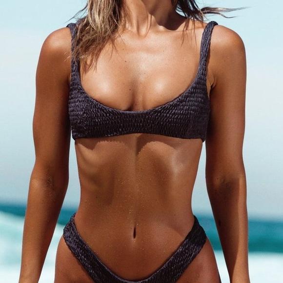 Other - LAHANA SWIM- Azarha Metallic Grey Bikini Top